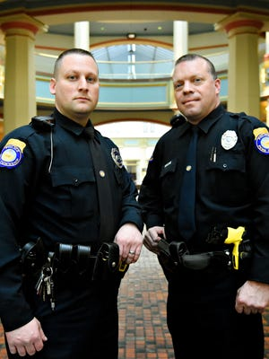 Patrolman Steve Gebhart Jr., left, and Patrolman Michael Smith, of Penn Township Police Department, are shown following a press conference held by Pennsylvania Department of Drug and Alcohol Programs to honor police departments that have begun carrying naloxone and reversed nearly 650 opioid overdoses in little more than a year, at the Pennsylvania State Capitol in Harrisburg, Tuesday, March 1, 2016. Gebhart and Smith have administered the antidote while on patrol. Dawn J. Sagert photo