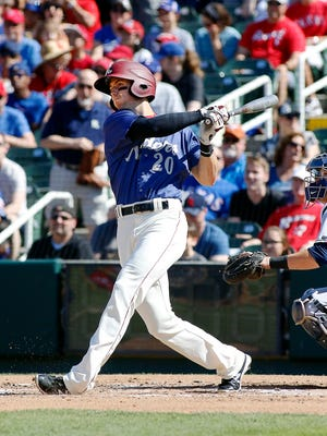 Frisco RoughRiders centerfielder Ryan Cordell watches his solo home run in the first inning against the Corpus Christi Hooks at Dr Pepper Ballpark.