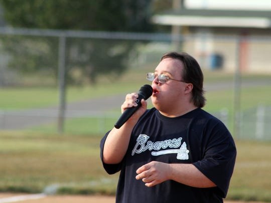Nathan Golden stepped up to sing the National Anthem at Friday's Buddy Ball Baseball's opening ceremonies.