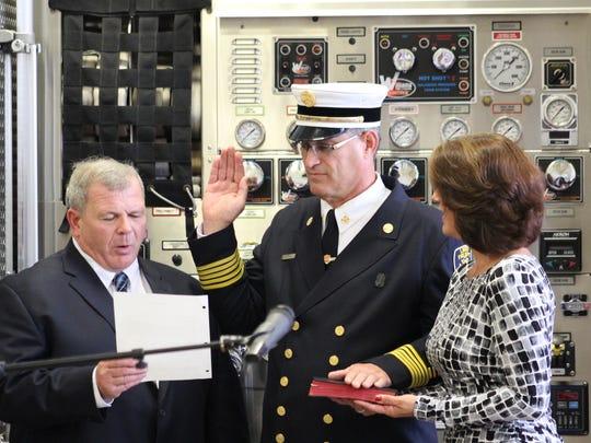 Linden Fire Chief Joseph Dooley is sworn into office