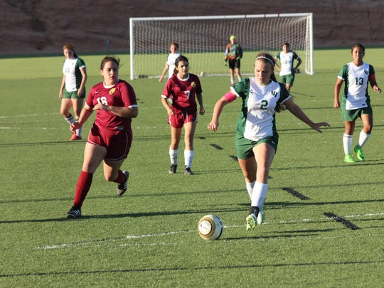 VVHS junior Abbie Barnum prepares to launch a shot toward Del Sol's net for a goal in a recent game.