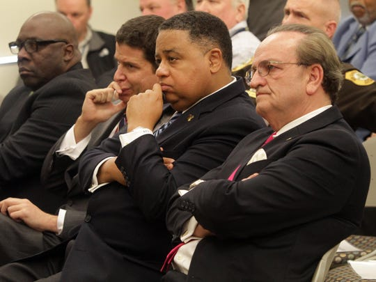At a press conference in 2014 are (from left) New Castle County Public Safety Director Joe Bryant, Chief Administrative Officer David Grimaldi, County Council President Chris Bullock and County Executive Tom Gordon. Grimaldi was fired from the position last month.