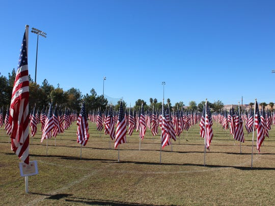 One thousand American-made flags stand in the Mesquite Recreation Center's field.