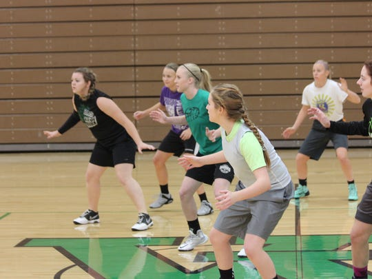 VVHS athletes participate in a drill during tryouts Saturday morning.