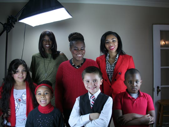 Just Be You showcase cast members with Mahogany Reynolds-Clarke. From left (back row): Reynolds-Clarke, Kayla Richardson and Kiana Queen and (front row): Jocelyn Espinoza, Kirsten Richardson, Brody Ferrer and Jeremiah DJ Clarke.