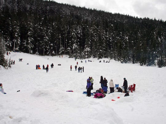 """The Salt Creek Sno Park """"snow play"""" area is a place for kids to go sledding."""