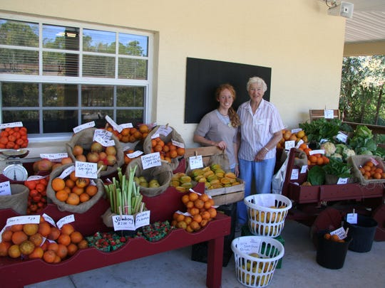Volunteer Nell Henson and intern Katie Myers Elhardt are pictured at the Market Garden.