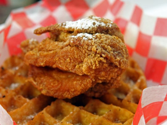 Chicken and waffles starts at $7.50 at Helen's Hot