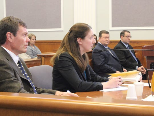 Assistant Attorney General Christopher Liegel, left, and Assistant Attorney General Amber Hahn, right, during a hearing in Vilas County Circuit Court on April 13, 2016. Brothers David and Brian Eliason sit in the background.