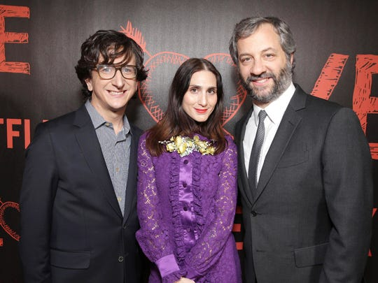 Paul Rust, Lesley Arfin and Judd Apatow at the premiere
