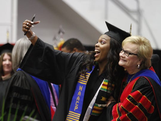 Amia Butler, left, stopped to take a selfie with APSU