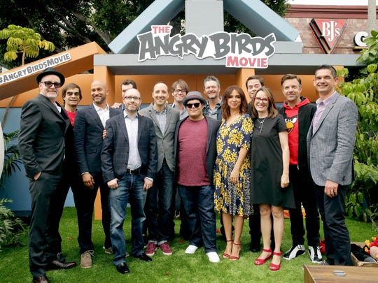 """Director Fergal Reilly, Executive Producer David Maisel, Keegan-Michael Key, Producer John Cohen, Billy Eichner, Tony Hale, Ike Barinholtz, Josh Gad, Blake Shelton, Maya Rudolph, Bill Hader, Producer Catherine Winder, Jason Sudeikis and Director Clay Kaytis seen at Columbia Pictures and Rovio Animations Premiere of """"The Angry Birds Movie"""" at Regency Village Theatre on Saturday, May 7, 2016, in Los Angeles."""
