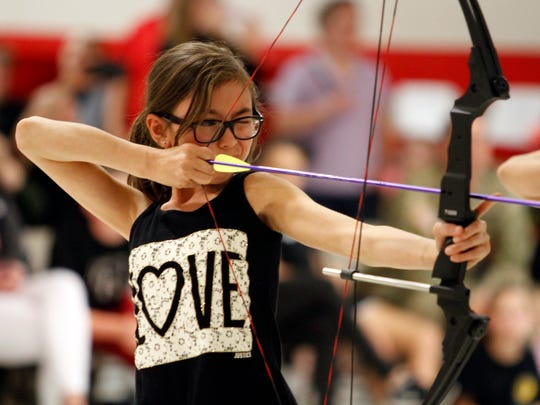 Isabelle Jones at Rossview Elementary School's archery