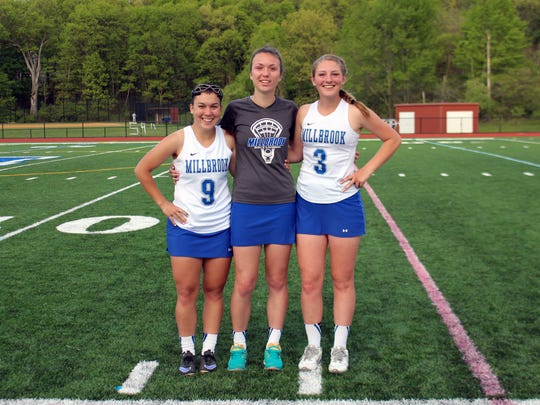 Millbrook girls lacrosse 2016 seniors, L to R: Sam Szalewicz, Liz Halpin and Sophia Bucklin. May 19, 2016.