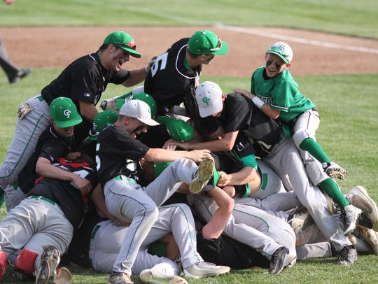 The Clear Fork baseball team celebrates after winning