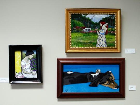 About a dozen pieces of Terri Jordan's artwork are
