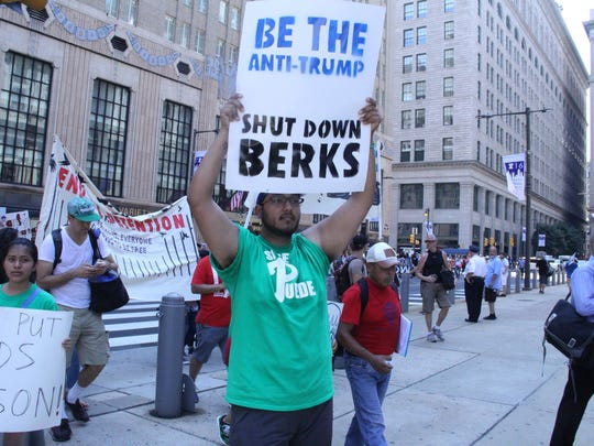 Angel Mendoza came from Texas to a rally Monday in