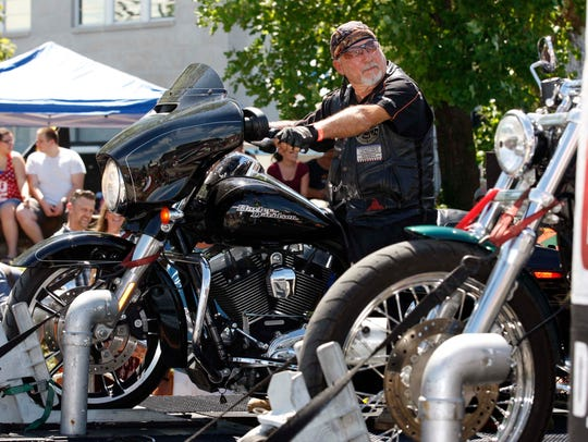 Denny Prothro races his Harley on the Dyno Drag Race