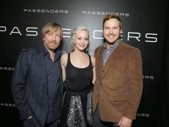 'Passengers' director Morten Tyldum (left) and stars