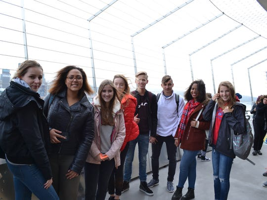 The German group takes in the Seattle sights during an exchange student field trip.
