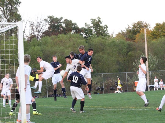 Greencastle-Antrim scores a goal against Northern York during a boys soccer game on Monday, Oct. 17, 2016. The Blue Devils won, 7-0.