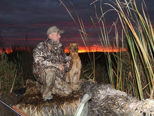 Andy Johnson of Hartford holds a green-winged teal shot by Ron Bergman of Appleton and retrieved by Johnson's yellow Labrador, Sawyer, during a hunt Oct. 22 on Horicon Marsh organized by the nonprofit group Horicon Marsh Veteran's Hunt Inc.