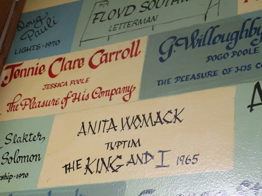 Anita Breen's brick in the former green room of the Strauss Theatre.