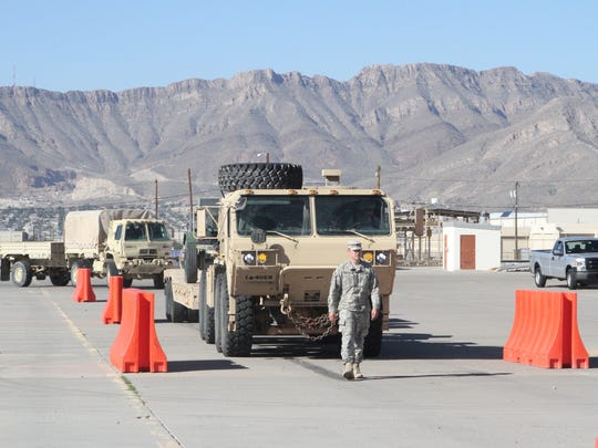 Soldiers from across Fort Bliss stage equipment for turn in during Divestiture Week. Agencies like the Logistics Readiness Center, Sierra Army Depot and the Defense Logistics Agency worked together during the operation.