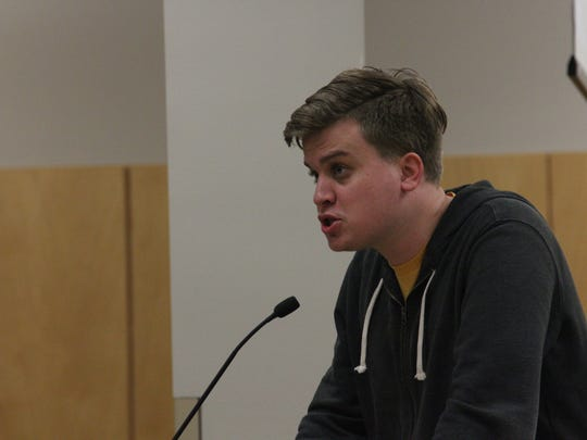 "John Noble of Downtown Disciples speaks in favor of the Des Moines school district adopting ""sanctuary schools"" during the school board meeting on Feb. 7."