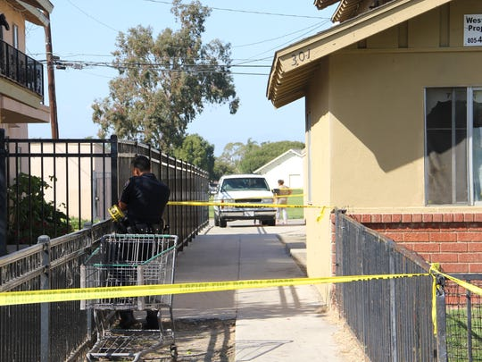 Oxnard police investigate the scene where Steven Magallon was shot on March 26, 2016. He died at a hospital on April 7, 2016.