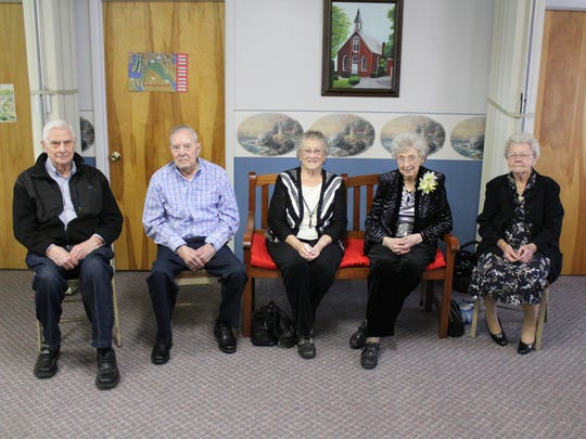 Six members of a Sunday school class at Grand Prairie Baptist Church in Brush Ridge are age 90 or older. They gathered to celebrate the 100th birthday of member Mary Rea on Saturday. From left, Don Beck, 90, Bill Chard, 93, Betty Gustin, 94, Mary Rea, 100, and Violet Rowlinson, 99. Class member Faye Hamrick, 90, was not present.
