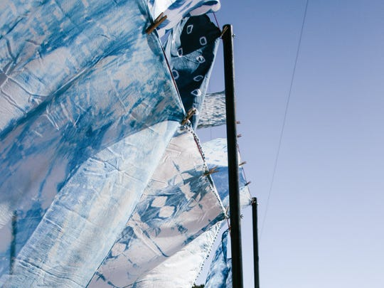 Shibori pieces, made by Makerville creatives Kurt Cyr and Debra Hovel, at their studio.