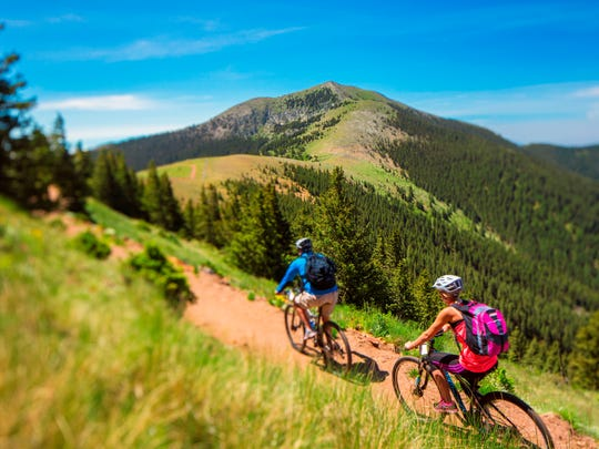 Ski Apache also has completed a new 5.5 mile mountain bike trail. This trail travels under the majestic Sierra Blanca Peak from the top of the gondola, back to the base area of Ski Apache.