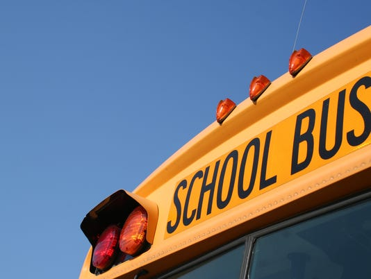 An up close picture of a school bus