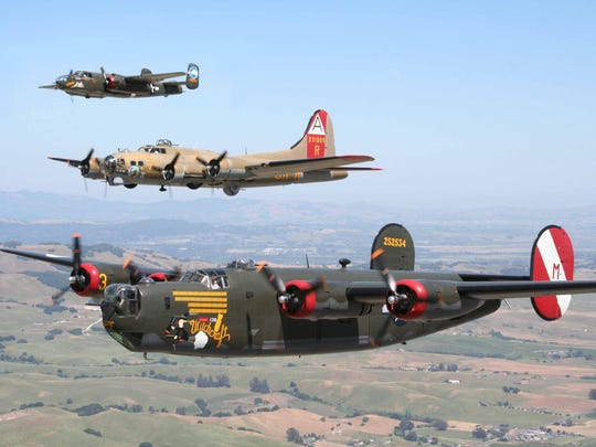 As shown from the top, a B-25 Mitchell, a B-17 Flying Fortress and a B-24 Liberator will be at Camarillo Airport on April 21-23 as part of The Collings Foundation's Wings of Freedom Tour, which is visiting 110 cities across the country.