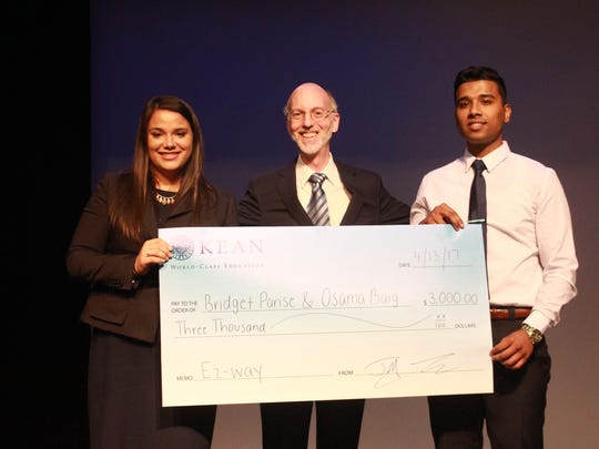 Kean juniors Bridget Parise and Osama Baig were the grand prize winners in the university's fourth annual International Business Plan Competition.