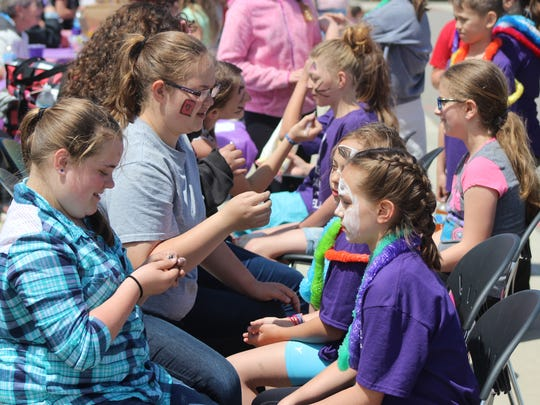 For a donation of 25 cents, Elgin Elementary School students could have their faces painted during the mini Relay for Life on Monday.