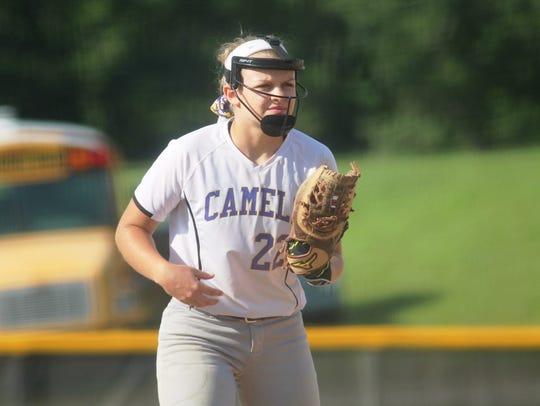 Campbell County senior Jessica Walsh at third base in 2017.