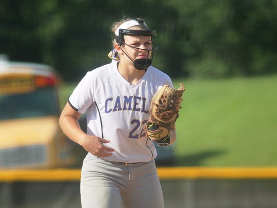 Campbell County senior Jessica Walsh at third base in 2017.