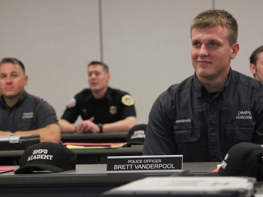Des Moines Police Academy recruit Brett Vanderpool, 23, of Council Bluffs, listens to Jean Hansen discuss implicit bias at the Des Moines Police Academy.