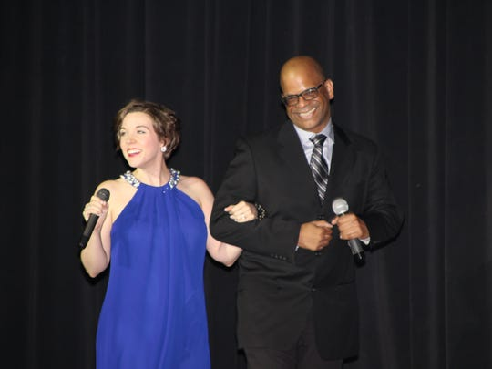 Sara Grote and John Garnes II take to the Palace Theatre stage as the opening act for the Celebrate Marion gala.