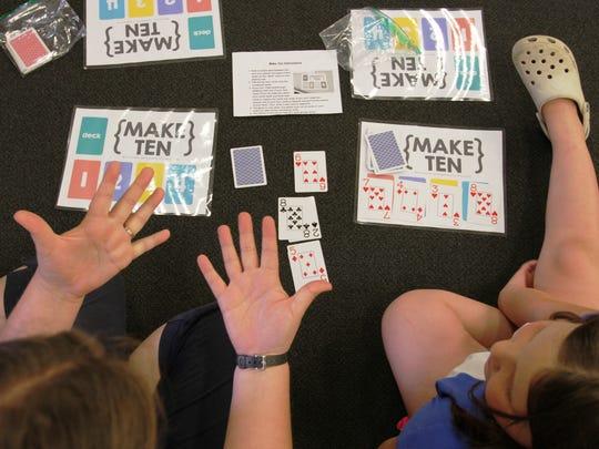 The Girl Scout found games like Make Ten to make math fun.