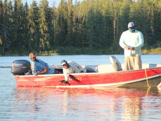 Mark Taylor of Roanoke, Va., lands a walleye while