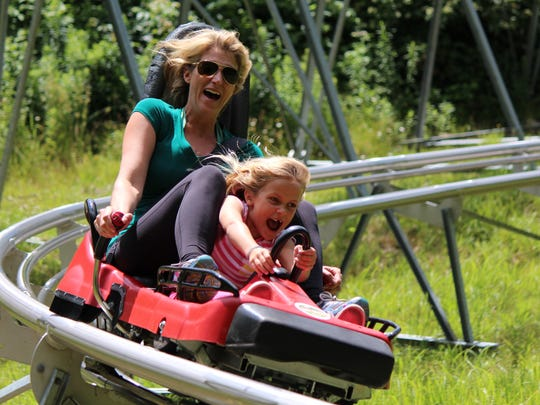 Riding the  Sky Flyer Mountain Coaster in Ellicottville.