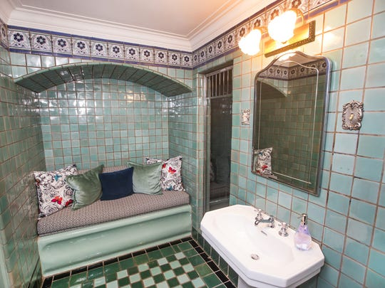 Renovations are taking place at the Wrigley Mansion in Phoenix. New tile, light fixtures, carpet, paint and other renovations are scheduled through 2018. This is the renovated bathroom adjacent to the women's master suite.