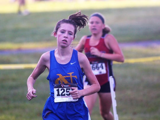 Abby Jones of NCC runs to the win in the NKAC cross country meet Oct. 14, 2017 at Idlewild Park in Burlington KY.