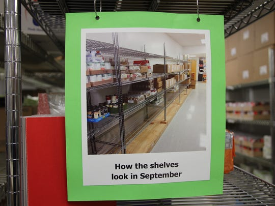 A photo hanging at the Greece Ecumenical Food Shelf reminds visitors of how empty the shelves look in September.  Like most food shelves, donations decrease in the summer, but demand increases because kids are out of school. A visual reminder that food donations are needed year-round, not just during holidays.
