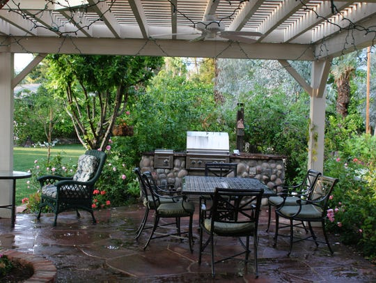 This patio is an epicenter for family gatherings.