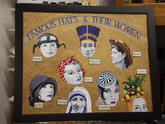 Brockport artist Katherine Weston painted Famous Hats and their Women for a collaborative exhibit on women's hats and headdresses at A Different Path Gallery.