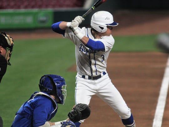 Highlands junior Cooper Schwalbach during a baseball game featuring Covington Catholic vs. Highlands as part of the Reds Futures Showcase April 20, 2018 at Great American Ball Park.